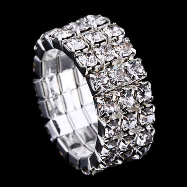 Strass-Ring Bella in Silber 3-Reiher