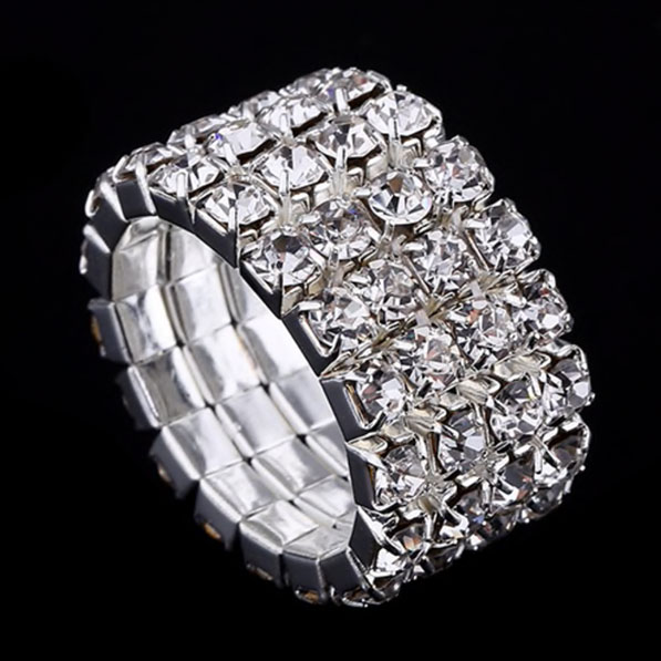 Strass-Ring Bella in Silber 4-Reiher